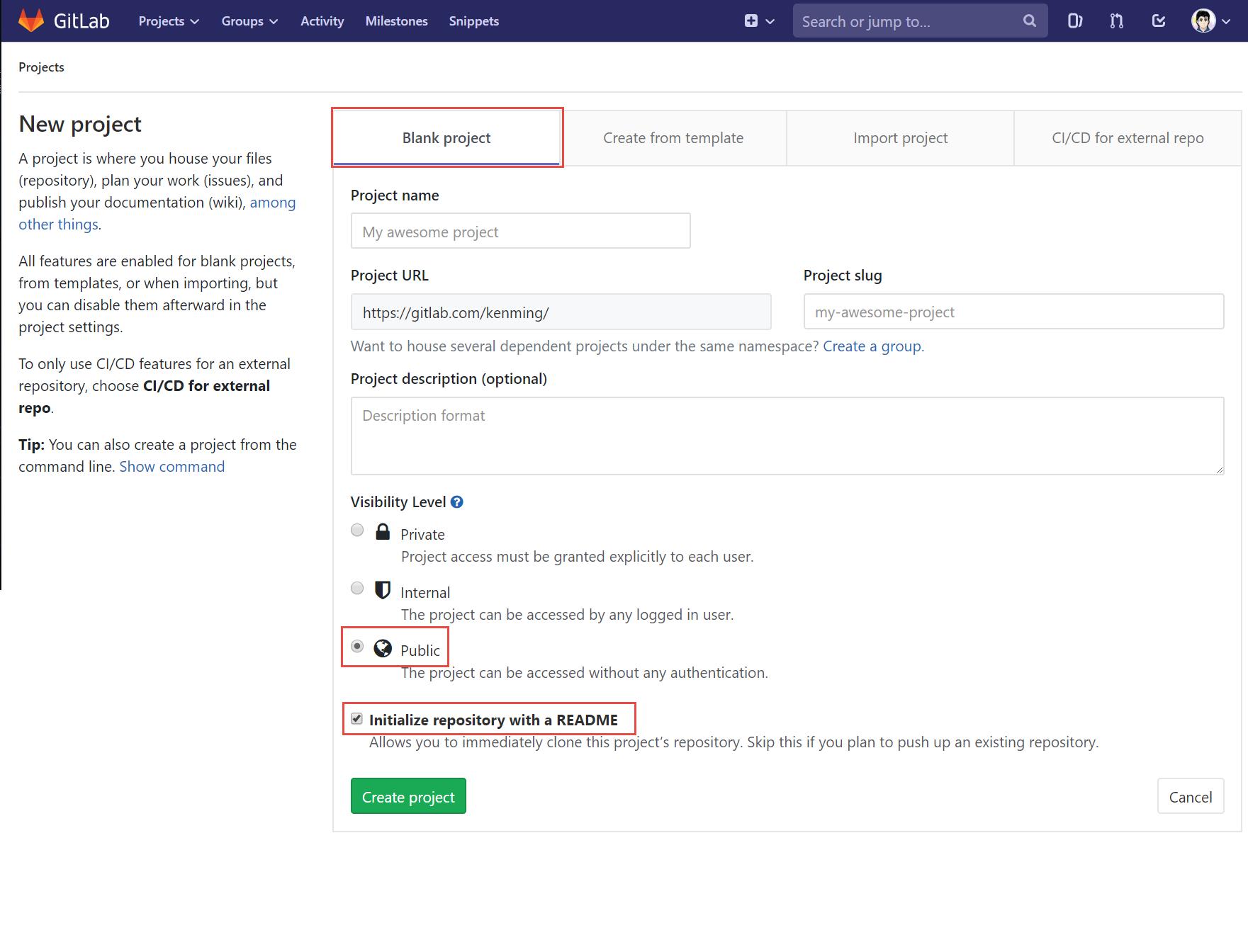 新增 GitLab 空白專案