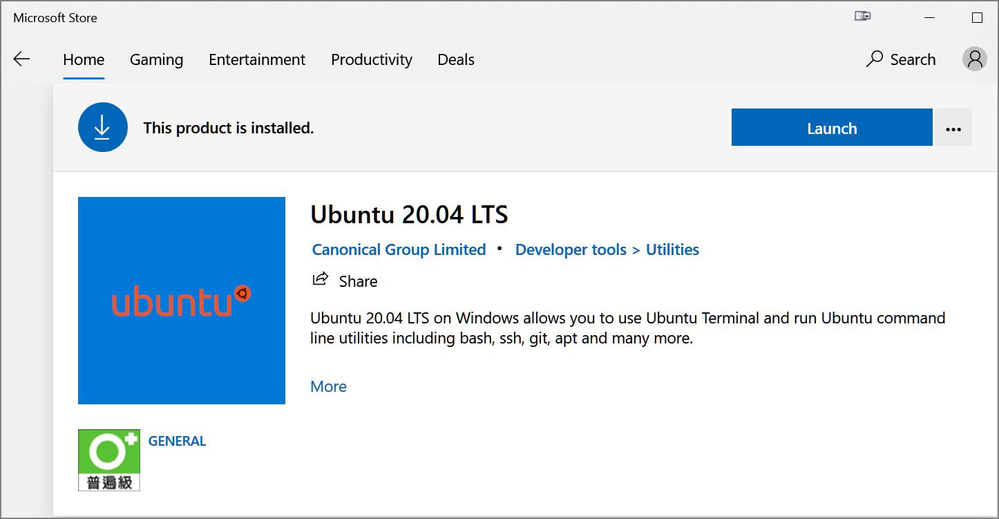 選擇安裝 WSL 2 for Ubuntu 20.04 LTS