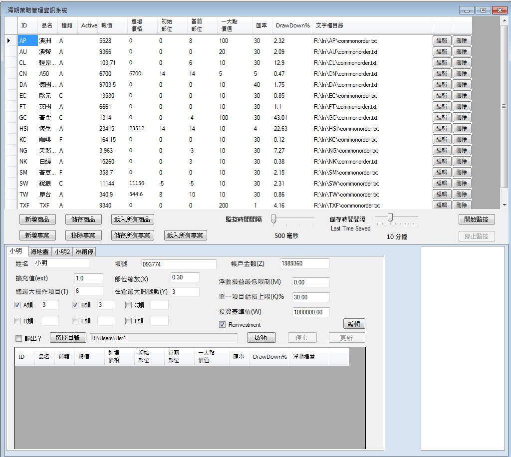 圖、海期資金部位策略管理系統 by C#.NET