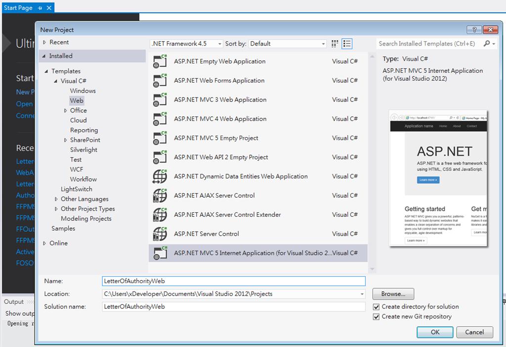 Visual Studio 2012 ASP.NET MVC 5 Extended Template