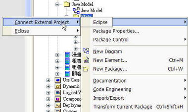 在 EA5.0 內執行 Code Generation to Eclipse