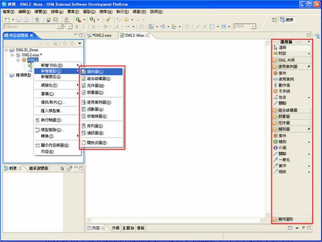 圖2、RSA 的 UML 2.0 專案操作畫面