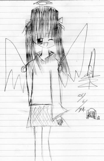 小三蓁妮(Jenny)的美少女天使鉛筆素描