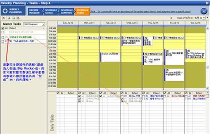 第四個步驟:規劃次要的工作事項,填入時間表內的